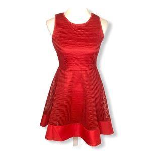 Romeo + Juliet Red Mesh Fit & Flare Skater Dress S
